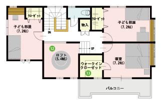 モデルハウス間取り(2階)